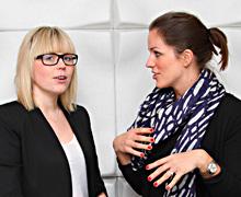 Marjaana Sirén (till vänster) kommer  från Finland och ska ta hand om Coolstuffs  finska kunder. Kajsa Knapp (till höger)  är en av grundarna till Coolstuff.