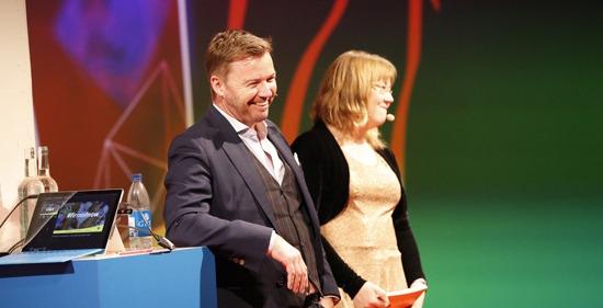 Rob Nixon, CEO Panalitix, och Ulrika Fjällborg, moderator på Visma Forward 2016