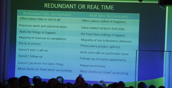 Redunant eller real time-accountant? En av Rob Nixons bilder på Visma Forward 2016