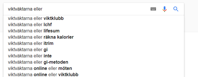 relaterade sökningar på konkurrenter i google suggest