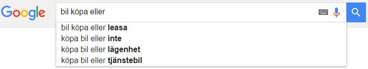 Relaterade sökningar i Google Suggest