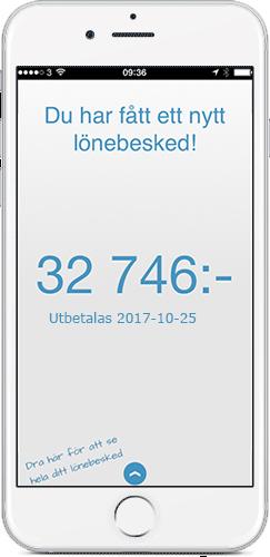 Min Lön, tillvalet till löneprogrammet Visma Lön, visas på iPhone