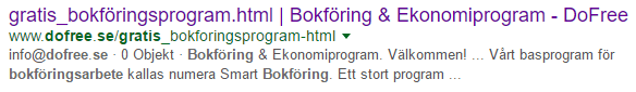 Gratis bokföringsprogram i Googles sökresultat