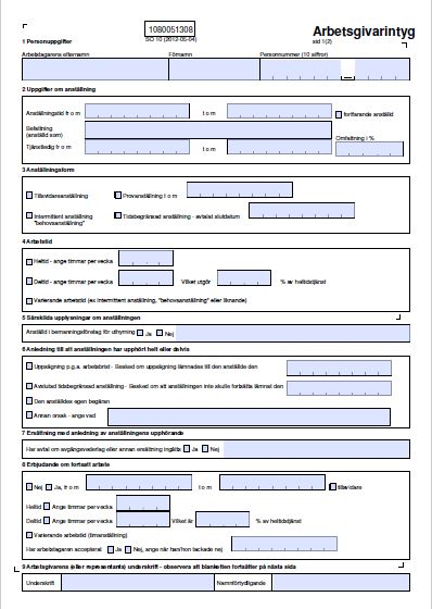 Exempel på arbetsgivarintyg från Visma Spcs
